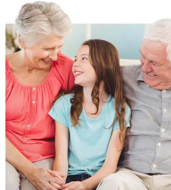 Sidebar image of grandparents and granddaughter for homepage of Joan Bundy Law, a Chandler divorce and family law firm